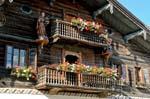 wooden balcony, geraniums