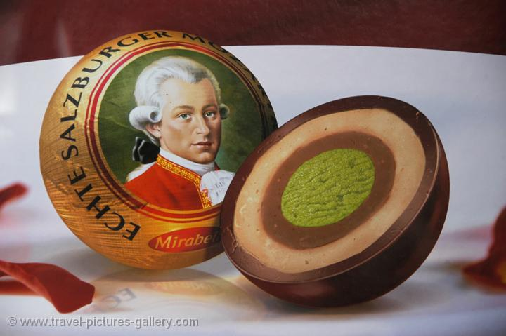 Mozart kugeln, a local sweet delicacy, chocolate and marzipan
