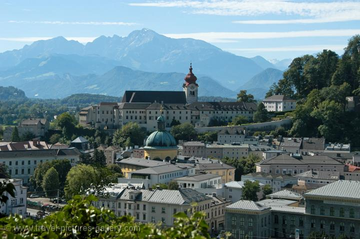 Pictures of Austria - Salzburg - view over the city with the Alps in the background