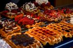 Pictures of Belgium - brussels - Belgian waffles with strawberries and cream or chocolate
