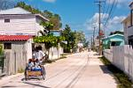 heavy traffic in Caye Caulker Village main street