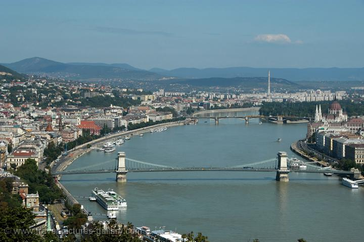 Pictures of Hungary - Budapest - Danube River with the Chain Bridge, from Gellért Hill