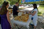 Pictures of Hungary - Budapest - people buying big pretzels