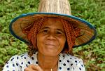 woman with a traditional straw hat