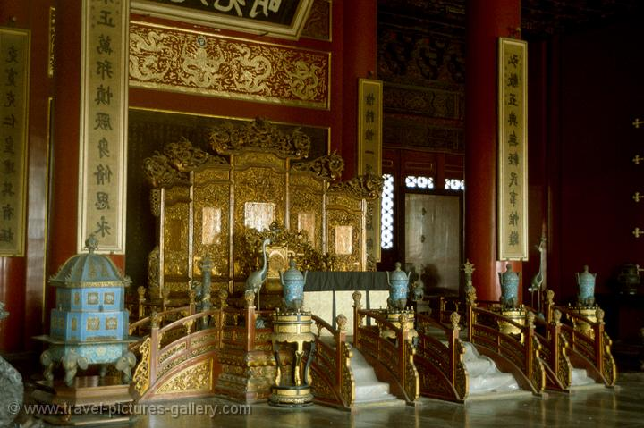 the emperor's throne at the Palace of Celestial Purity