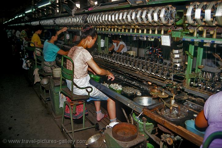 spinning silk, at a silk factory, Suzhou