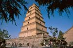 the Big Wild Goose Pagoda, built in 652 during the Tang Dynasty (618-907)