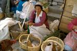 lady selling cuy, guinea pigs, and rabbits