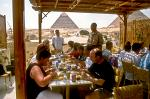 tourists having lunch at the pyramids at Giza
