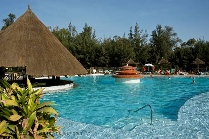 Gambia is a popular holiday destination, a hotel pool