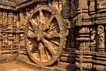 at the Sun Temple of Konarak, a chariot wheel in stone