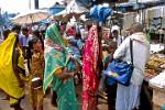Puri, colourful dressed women at the Jagannath Temple