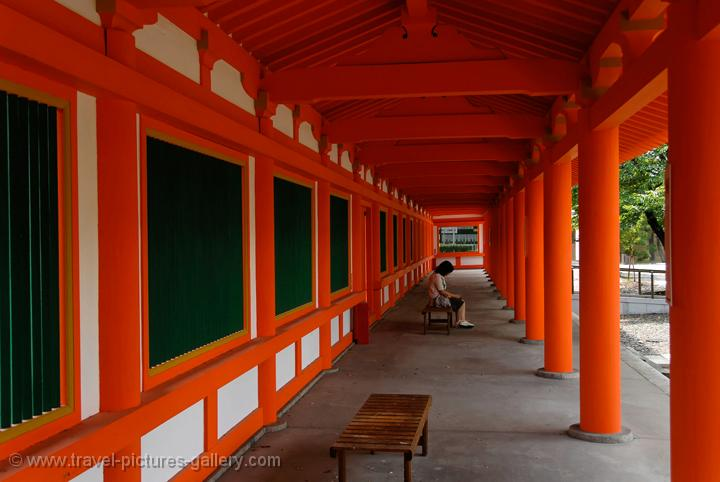 gallery at the Sanjusangendo Temple, red pillars