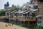 houses on the Kamo River banks