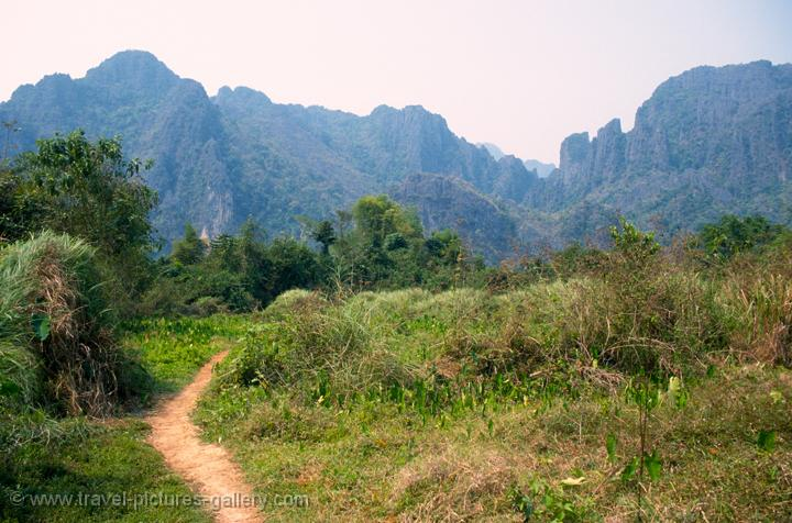 Pictures of Laos - Vang Vieng-0019 - flieds with limestone ...
