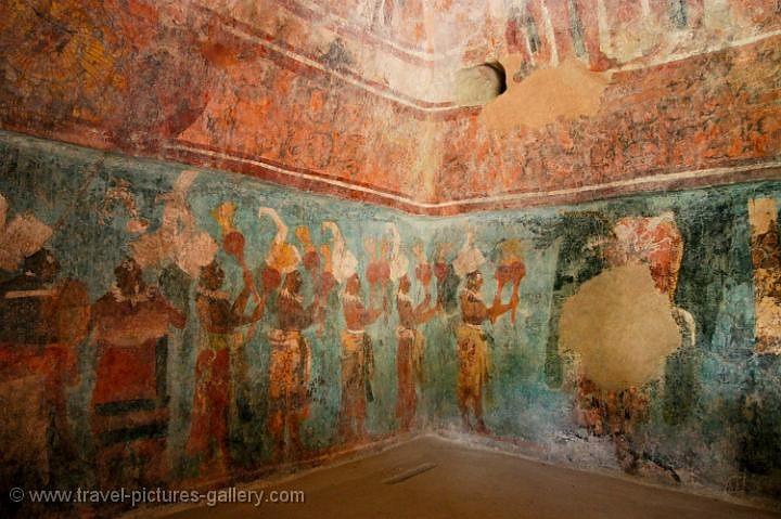 Pictures of mexico palenque 0080 bonampak frescos for Bonampak mural painting