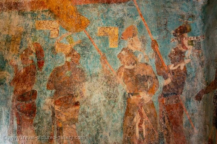 Pictures of mexico palenque 0081 bonampak frescos for Bonampak mural painting