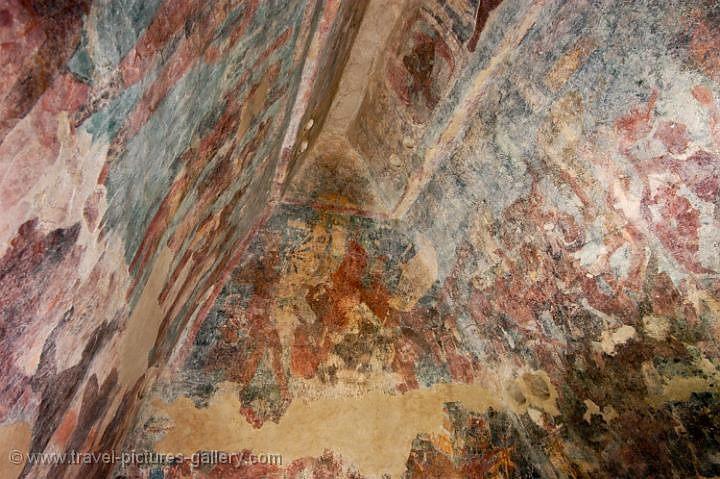 Pictures of mexico palenque 0082 bonampak frescos for Bonampak mural painting
