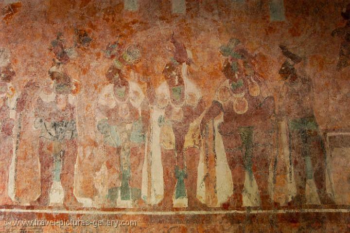 Pictures of mexico palenque 0083 bonampak frescos for Bonampak mural painting