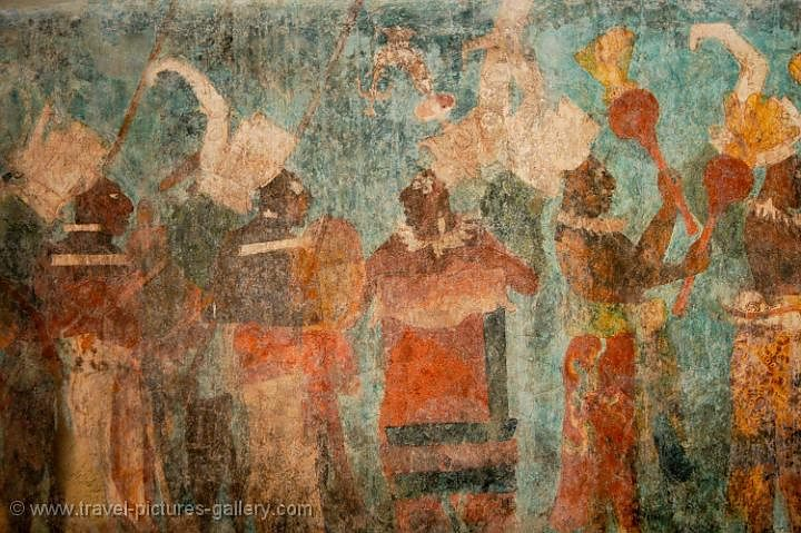 Pictures of mexico palenque 0084 bonampak frescos for Bonampak mural painting