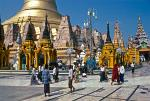 people circling the Shwedagon Pagoda