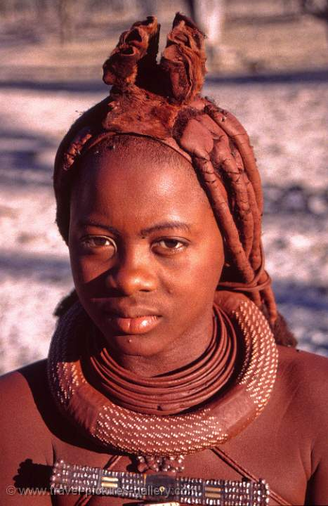 Himba people, girl on the road to Epupa