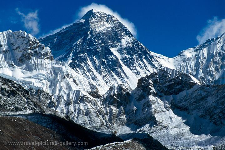 Pictures of Nepal - Everest Trek - Mount Everest, the world's highest mountain 8850m. (29,035 feet)