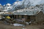 Pictures of Nepal - Everest Trek - the Gorakl Shep lodge, close to Everest Base Camp (5160m.)