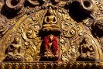 red millet draped over a Buddha, Swayambhunath Temple