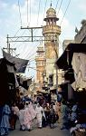 street with minarets of the Mosque of Wazir Khan