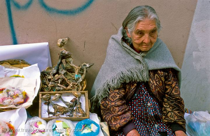 woman selling llama foetusses, witches market, La Paz, Bolivia