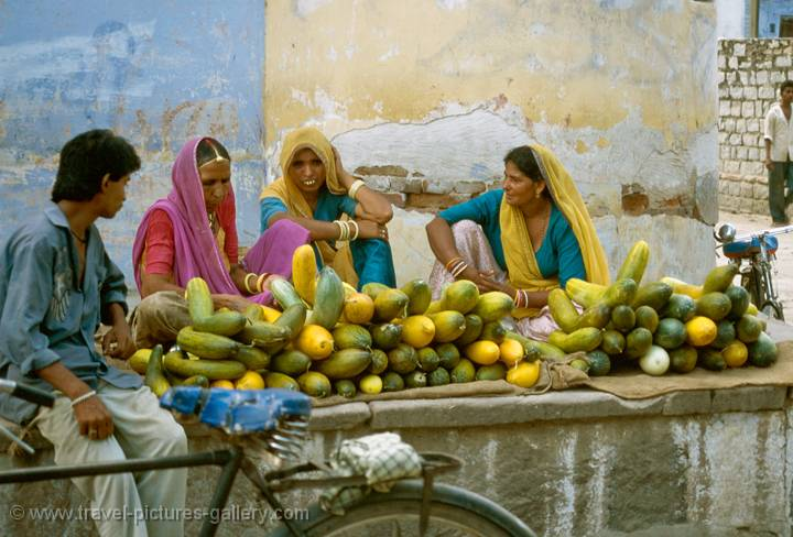 women at a market, Rajasthan, India