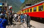 taking the train from Cuzco to Aguas Calientes