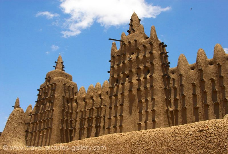 Mali - Djenné - the Grande Mosqu�e, Grand Mosque, adobe, mud brick architecture