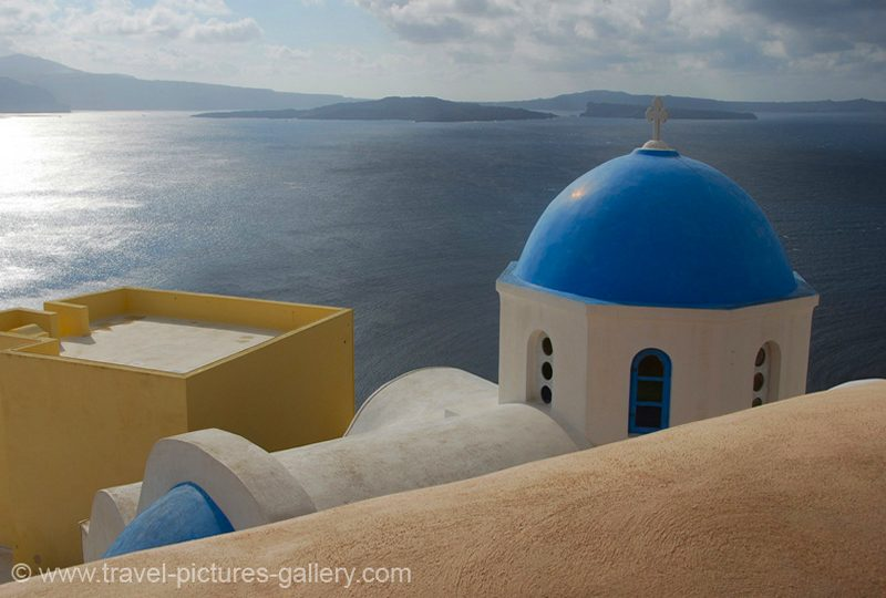 Greece - Santorini - blue domed church, Oia