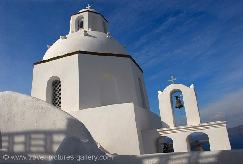 Greece - Santorini -whitewashed Greek Orthodox church, Fira