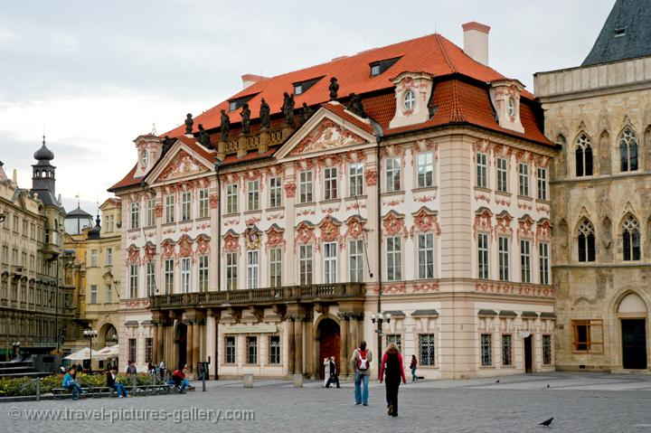 the Baroque Kinsky Palace has a Rococo facade, Old Town Square