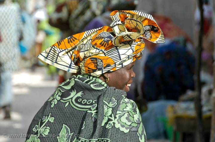 woman with colourful traditional head dress