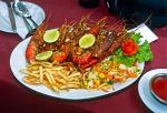 lobster and fries at a Unawatuna restaurant