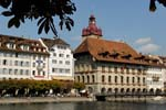 Lucerne, (Luzern), houses on the the waterfront, River Reuss