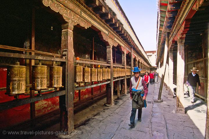 row of prayer wheels at the Jokhang