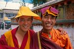 two friendly monks on Barkhor Square