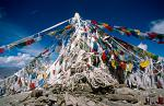 prayer flags on the 4974m high Kamba La pass