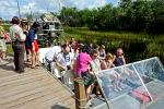 tourists getting ready for the airboat ride