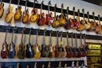 vintage guitars in a Lower Broadway store