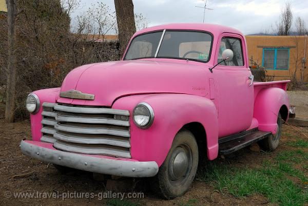 New Mexico- Taos, Pueblo, pink Chevrolet pickup