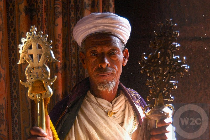 Ethiopia - temple priest holding the Lalibela Cross