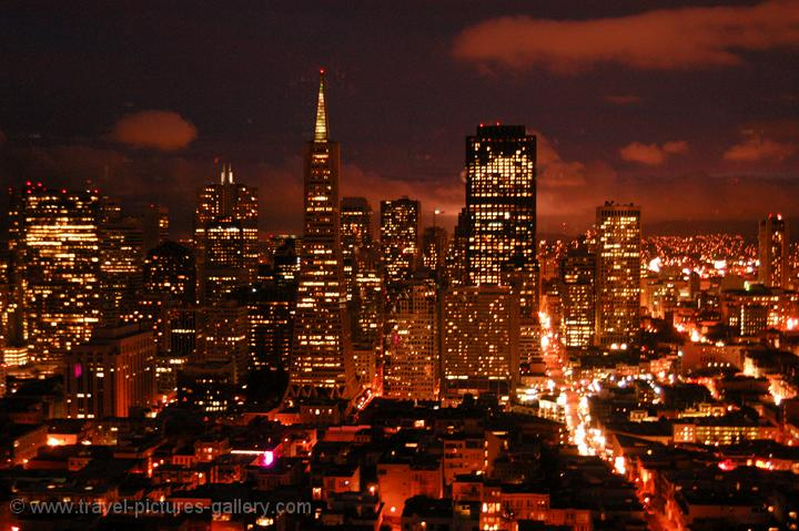 night view over the city from Coit Tower